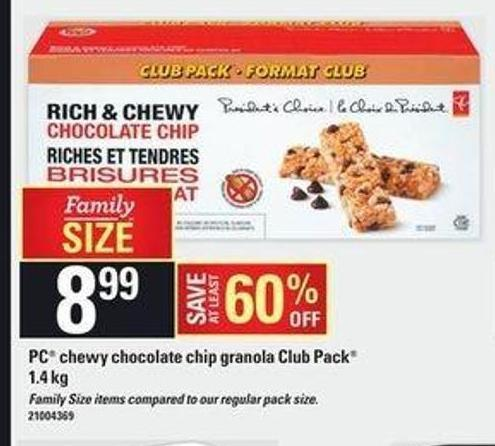 PC Chewy Chocolate Chip Granola Club Pack 1.4 Kg