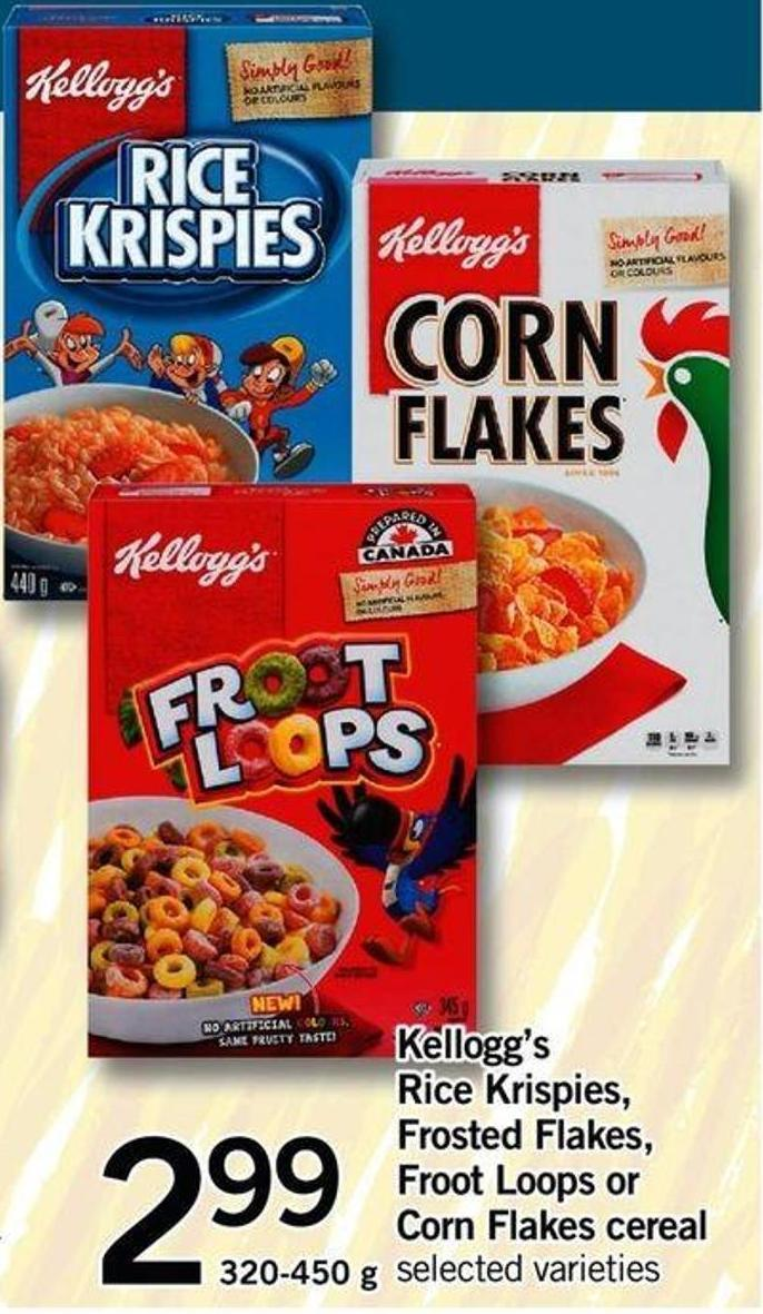Kellogg's Rice Krispies - Frosted Flakes - Froot Loops Or Corn Flakes Cereal.320-450 G