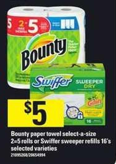 Bounty Paper Towel Select-a-size - 2=5 Rolls Or Swiffer Sweeper Refills - 16's