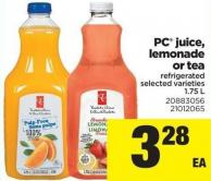 PC Juice - Lemonade Or Tea Refrigerated - 1.75 L