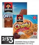 Quaker Chewy or Dipps Granola Bars 130 - 156 g