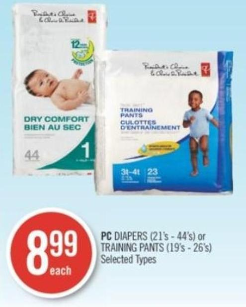 PC Diapers (21's - 44's) or Training Pants (19's - 26's)