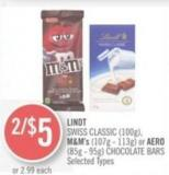 Lindt  Swiss Classic (100g) - M&m's (107g - 113g) or Aero (85g - 95g) Chocolate Bars