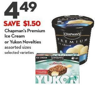 Chapman's Premium Ice Cream or Yukon Novelties