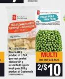 PC Cauliflower Florets - 340 G - Gourmet Peeled Carrots - 454 G Or Shelled English Fresh Peas - 283 G