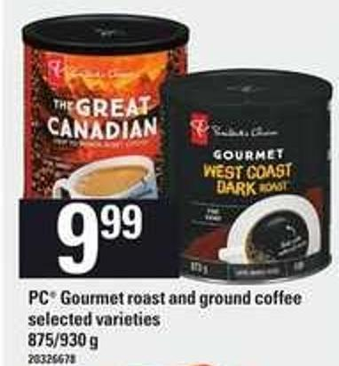 PC Gourmet Roast And Ground Coffee - 875-930 g