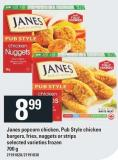 Janes Popcorn Chicken - Pub Style Chicken Burgers - Fries - Nuggets Or Strips - 700 g