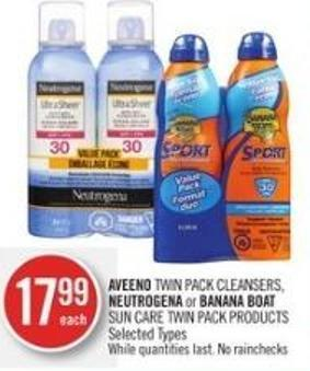 Aveeno Twin Pack Cleansers - Neutrogena or Banana Boat Sun Care Twin Pack Products