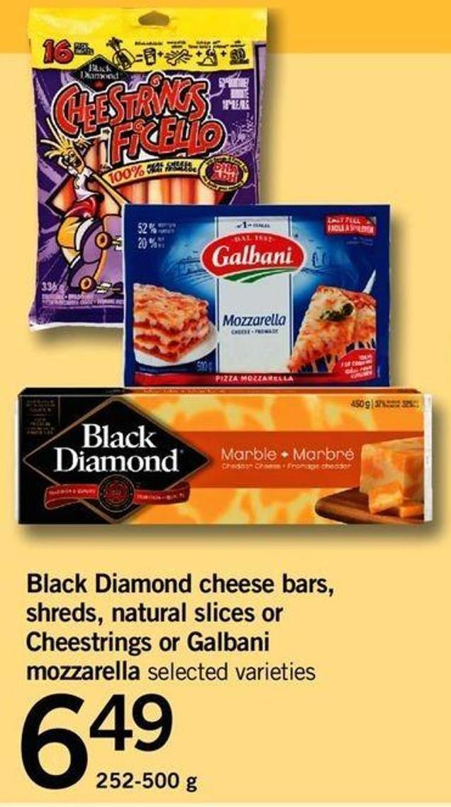 Black Diamond Cheese Bars - Shreds - Natural Slices Or Cheestrings Or Galbani Mozzarella - 252-500 G