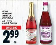 Kedem Sparkling Drinks Or Grape Juice 650 - 750 ml