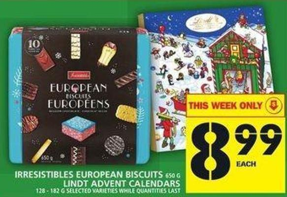 Irresistibles European Biscuits Or Lindt Advent Calendars
