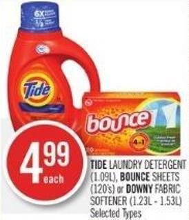 Tide Laundry Detergent (1.09l) - Bounce Sheets (120's) or Downy Fabric Softener (1.23l - 1.53l)