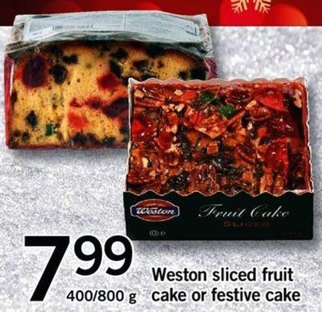 Weston Sliced Fruit Cake Or Festive Cake - 400/800 G