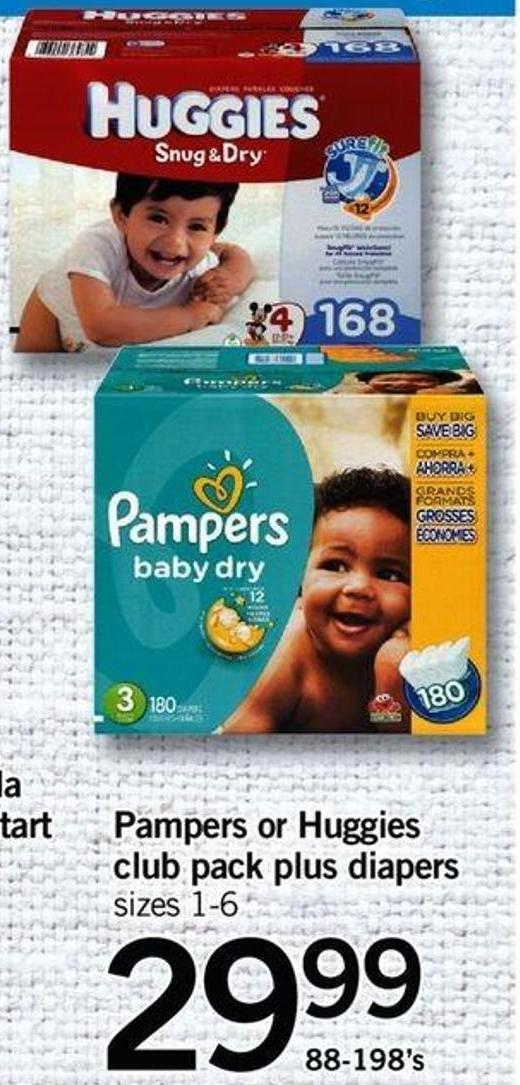 Pampers Or Huggies Club Pack Plus Diapers - 88-198's