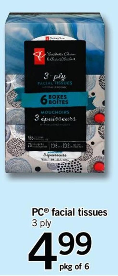 PC Facial Tissues - Pkg Of 6