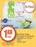 PC Natural Spring (24 X 500ml) or Blue Menu Sparkling (12 X 355ml) Water