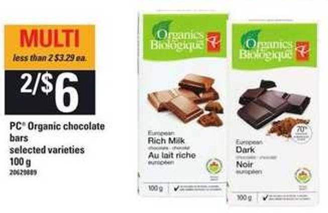PC Organic Chocolate Bars - 100 G