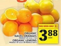 Organic Navel Oranges Or Organic Lemons