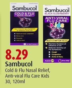 Sambucol  Cold & Flu Nasal Relief -  Anti-viral Flu Care Kids 30 - 120ml