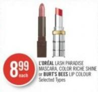 L'oréal Lash Paradise Mascara - Color Riche Shine or Burt's Bees Lip Colour