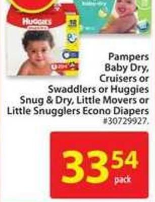 Huggies Snug & Dry - Little Movers or Little Snuggles Econo Diapers