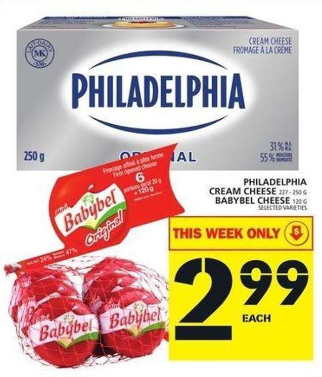 Philadelphia Cream Cheese Or Babybel Cheese