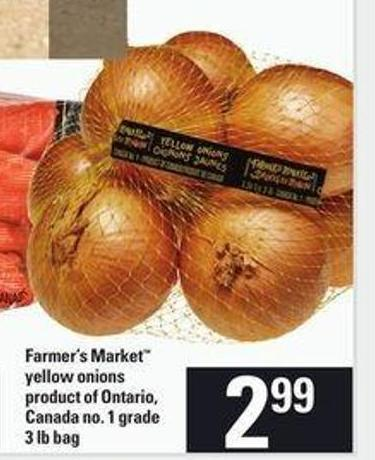 Farmer's Market Yellow Onions - 3 Lb Bag