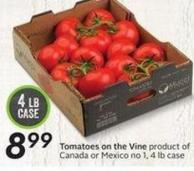 Tomatoes On The Vine Product of Canada or Mexico No 1 - 4 Lb Case