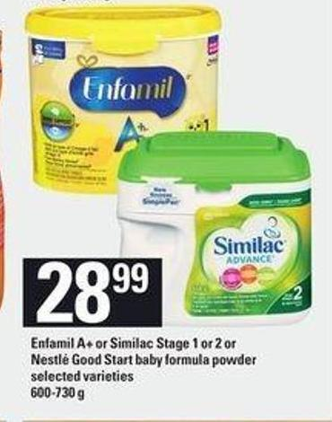 Enfamil A+ Or Similac Stage 1 Or 2 Or Nestlé Good Start Baby Formula Powder - 600-730 g