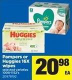 Pampers Or Huggies 16x Wipes - 1008-1152's