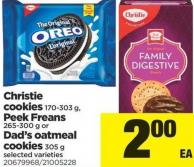 Christie Cookies 170-303 G - Peek Freans 265-300 G Or Dad's Oatmeal Cookies 305 G