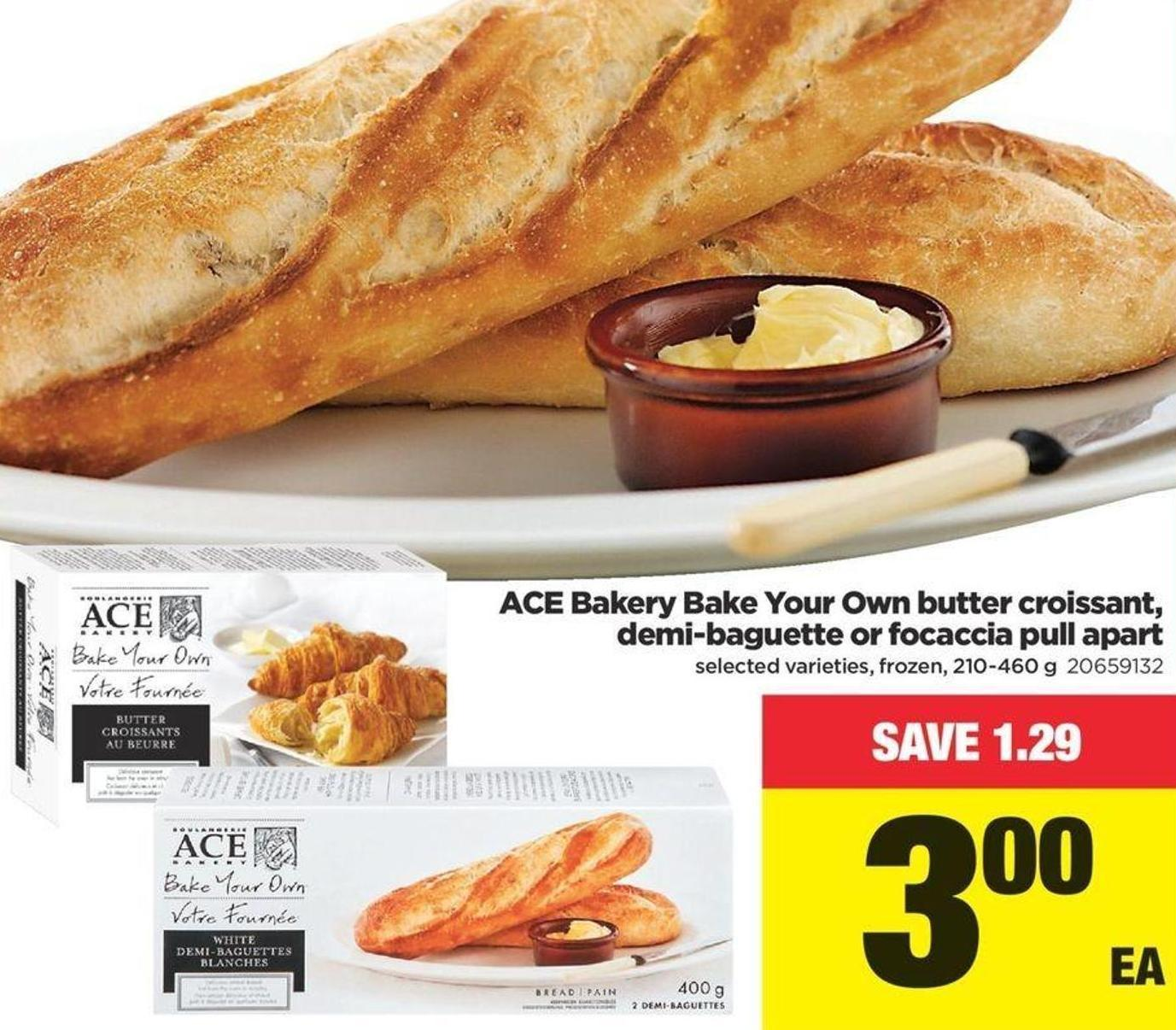 Ace Bakery Bake Your Own Butter Croissant - Demi-baguette Or Focaccia Pull Apart - 210-460 g