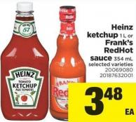 Heinz Ketchup 1 L Or Frank's Redhot Sauce 354 Ml