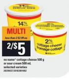 No Name Cottage Cheese 500 g or Sour Cream 500 mL