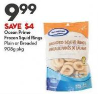 Ocean Prime Frozen Squid Rings  Plain or Breaded 908g