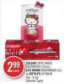 Colgate Optic White Toothpaste (75ml) - Life Brand Mouthwash (1l) or Softlips Lip Balm (4g - 6.5g)