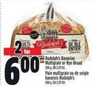 Rudolph's Bavarian Multigrain Or Rye Bread 500 g - Or 3.29 Ea.