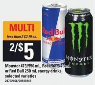 Monster 473/550 Ml - Rockstar 473 Ml Or Red Bull 250 Ml Energy Drinks