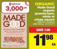 Made Good Organic Granola Bars - Minis or Crispy Square - 288-396 g