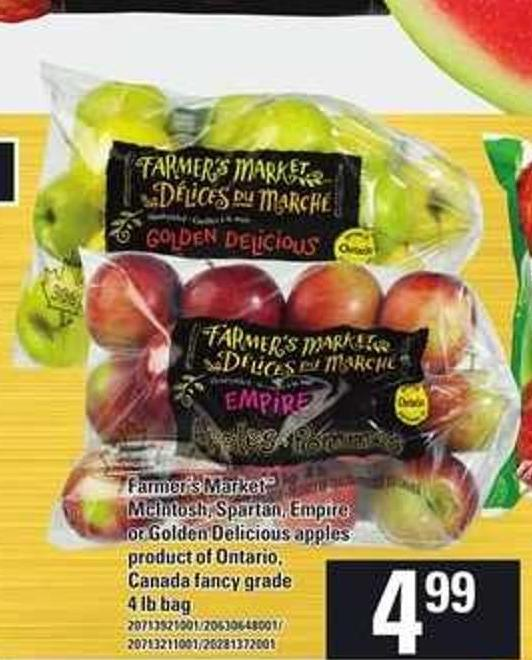 Farmer's Market Mcintosh - Spartan - Empire Or Golden Delicious Apples - 4 Lb Bag