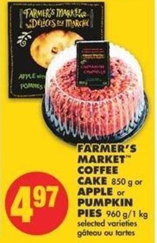 Farmer's Market Coffee Cake 850 G Or Apple Or Pumpkin Pies