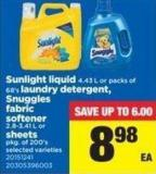 Sunlight Liquid - 4.43 L Or Packs Of 68's Laundry Detergent - Snuggles Fabric Softener - 2.8-3.41 L Or Sheets - Pkg Of 200's
