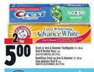 Crest Or Arm & Hammer Toothpaste 70 - 130 Ml Oral-b Dental Floss 1 Un.