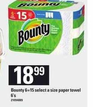 Bounty 6=15 Select A Size Paper Towel 6's