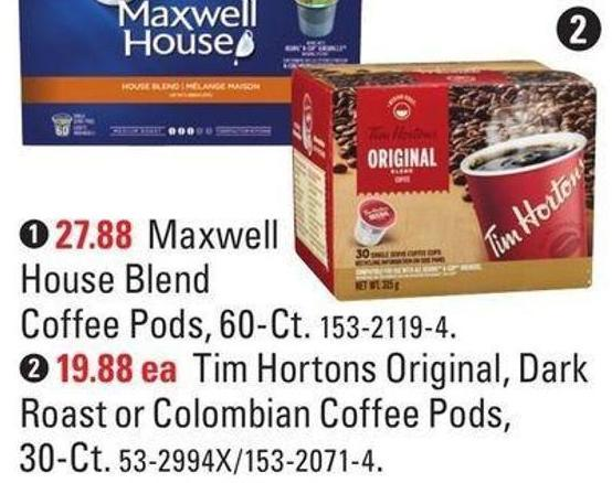 2. Tim Hortons Original - Dark Roast or Colombian Coffee Pods - 30-ct