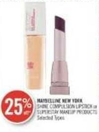 Maybelline New York Shine Compulsion Lipstick or Superstay Makeup Products