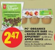 PC Organics Chocolate Bars - 100 g or Raisin Snacks - 196 g - Appletreet - 6x100 mL or Apple Sauce - 650 mL