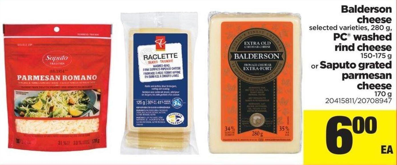 Balderson Cheese - 280 G - PC Washed Rind Cheese - 150-175 G Or Saputo Grated Parmesan Cheese.170 g