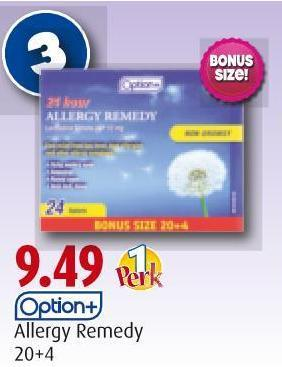 Option+   Allergy Remedy   20+4