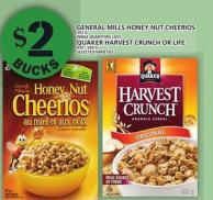 General Mills Honey Nut Cheerios Or Quaker Harvest Crunch Or Life